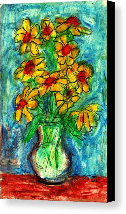 Flowers Canvas Print featuring the drawing Garden Flower Mono-print by Don Thibodeaux