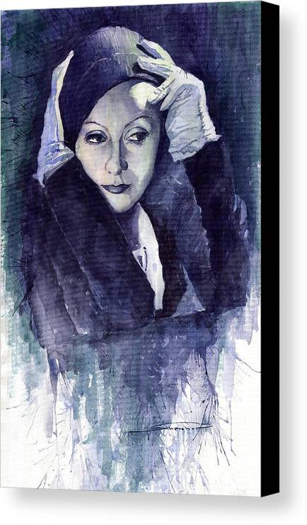 Watercolour Canvas Print featuring the painting Greta Garbo by Yuriy Shevchuk