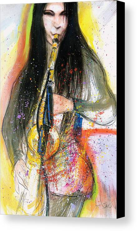 Hot Canvas Print featuring the painting Hot Jazz Lady by Gregory DeGroat