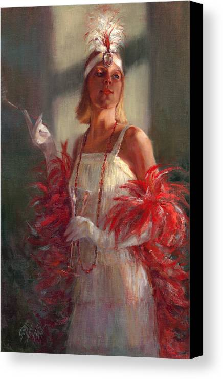 Flapper Canvas Print featuring the painting In Full Plumage by Cheryl King