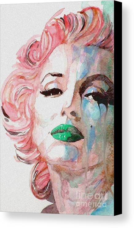 Marilyn Monroe Canvas Print featuring the painting Insecure Flawed But Beautiful by Paul Lovering