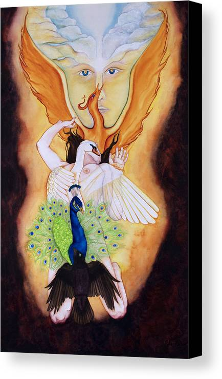 Spiritual Alchemy Canvas Print featuring the painting Magnum Opus An Allegory Of Spiritual Alchemy by Rebecca Barham
