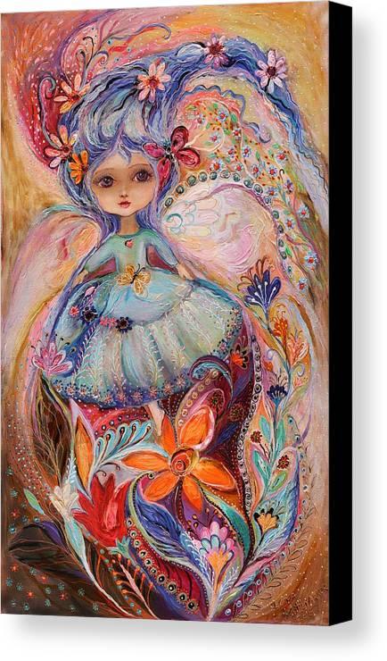 Modern Jewish Art Canvas Print featuring the painting My Little Fairy Malvina by Elena Kotliarker