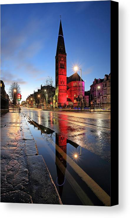 Oran Mor Canvas Print featuring the photograph Oran Mor Reflection by Grant Glendinning