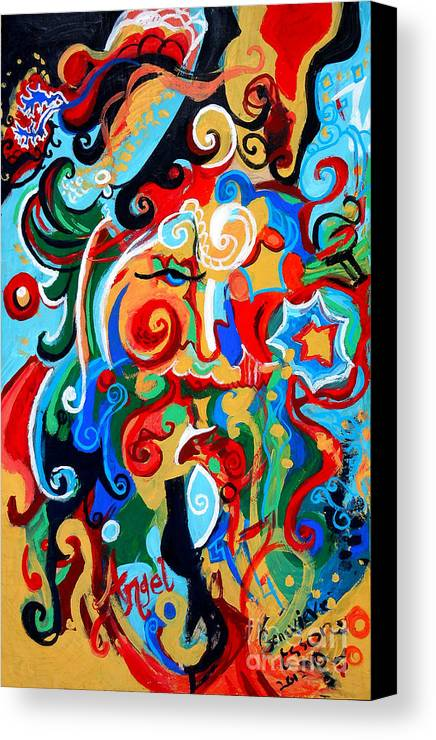 Polynomial Canvas Print featuring the painting Polynomial Name God Phase I by Genevieve Esson