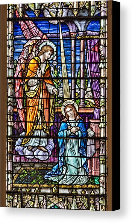 Catholic Canvas Print featuring the photograph Stained Glass by Susan Candelario