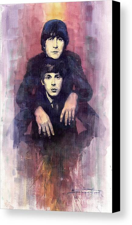 Watercolour Canvas Print featuring the painting The Beatles John Lennon And Paul Mccartney by Yuriy Shevchuk