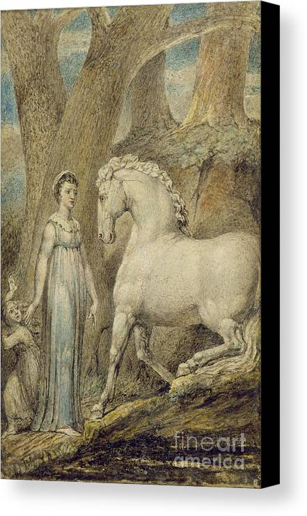 Woodland Canvas Print featuring the painting The Horse by William Blake