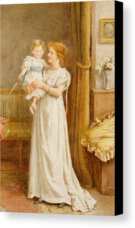 Mother; Child; Baby; Toddler; Son; Boy; Male; Female; Interior; 19th; 20th; Dress; Holding; Maternal; Affection; Love Canvas Print featuring the painting The Master Of The House by George Goodwin Kilburne