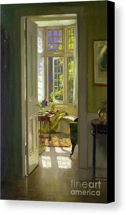 Window; Door; Sunlight; Shadow Canvas Print featuring the painting Interior Morning by Patrick Williams Adam