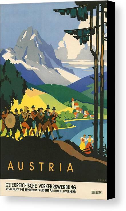 Active Canvas Print featuring the digital art Austrian Alps by Georgia Fowler