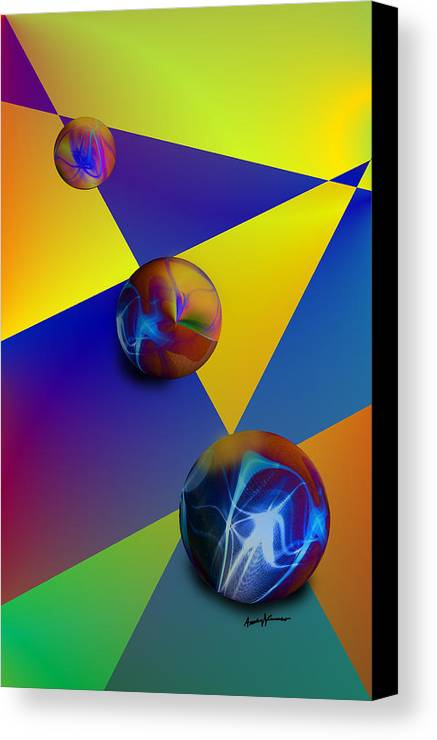 Abstract Canvas Print featuring the digital art Bocce by Anthony Caruso