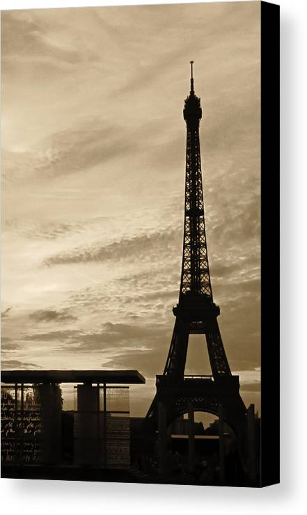 Paris Canvas Print featuring the photograph Eiffel At Sunset by Tony Grider