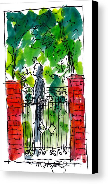 Landscape Canvas Print featuring the painting Garden Philadelphia by Marilyn MacGregor