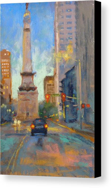 City Scape Canvas Print featuring the painting Indy Monument At Twilight by Donna Shortt