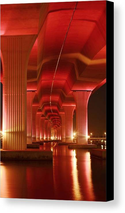 Roosevelt Bridge Canvas Print featuring the photograph Inside Support by Lynda Dawson-Youngclaus
