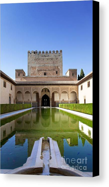 Alhambra Canvas Print featuring the photograph Nasrid Palace From Fish Pond by Jane Rix