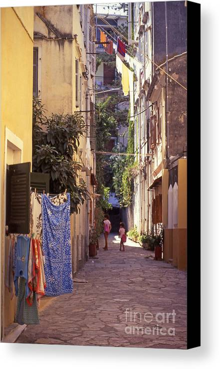 Corfu Canvas Print featuring the photograph Greece. Venetian Street In Corfu Old Town. by Steve Outram