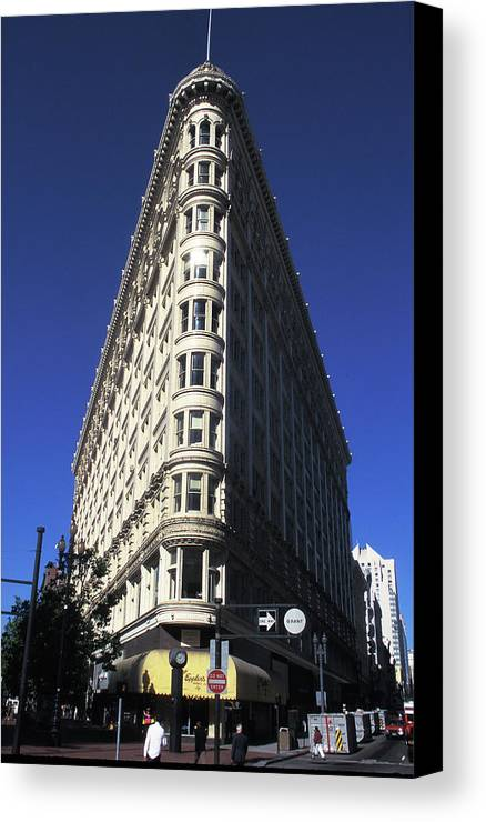 Flatiron Canvas Print featuring the photograph Phelan Building In San Francisco by Carl Purcell