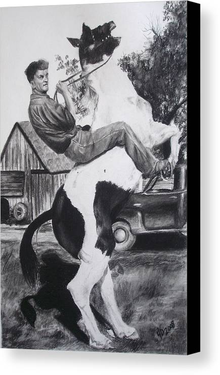 Horse Canvas Print featuring the drawing Untitled by Darcie Duranceau