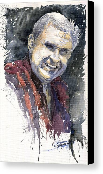 Watercolour Canvas Print featuring the painting Alex by Yuriy Shevchuk