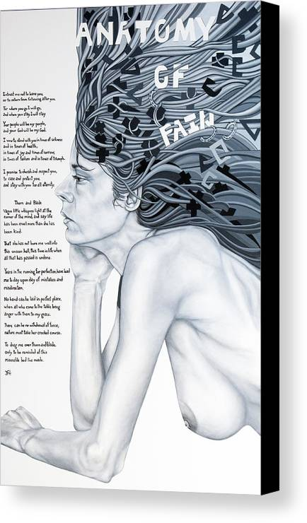 Poetry Canvas Print featuring the painting Anatomy Of Pain by Judy Henninger