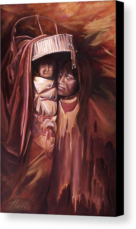 Native American Canvas Print featuring the painting Apache Girl And Papoose by Nancy Griswold
