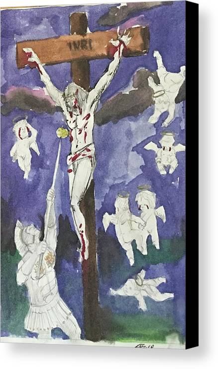 Canvas Print featuring the mixed media Christ Crucifixion by Alejandro Lopez-Tasso