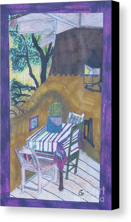 Abstract Christmas Canvas Print featuring the painting Christmas On The Deck In Santa Fe by James SheppardIII