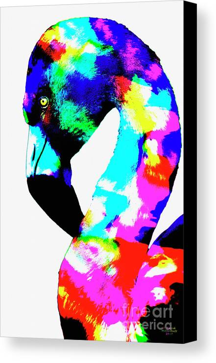Colored Flamingo Canvas Print featuring the photograph Colored Flamingo by David Millenheft