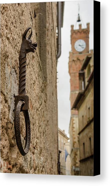Photography Canvas Print featuring the photograph Detail Of Iron On A Wall Of Pienza, Tuscany, Italy by Sanchez PhotoArt