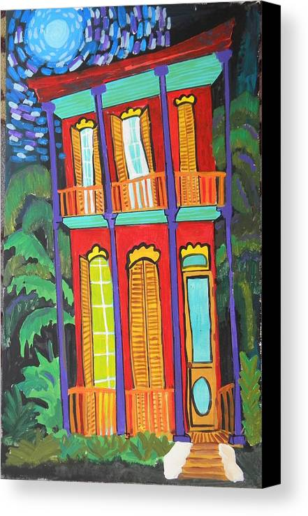 New Orleans Canvas Print featuring the digital art Funky Red House In New Orleans by Linda MorganSmith