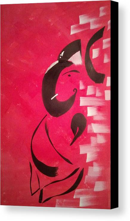 Side Face Ganesh Canvas Print featuring the painting Ganeshji by Pavana Dv