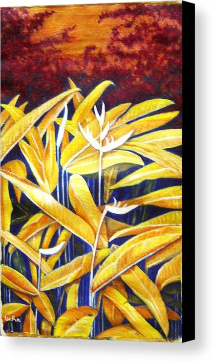 Heliconia Canvas Print featuring the painting Heliconia by Usha Shantharam