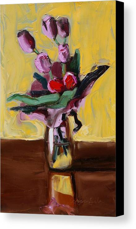 Tulip Canvas Print featuring the painting Jar With Tulips by Bela Csaszar