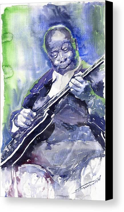 Jazz Canvas Print featuring the painting Jazz B B King 02 by Yuriy Shevchuk