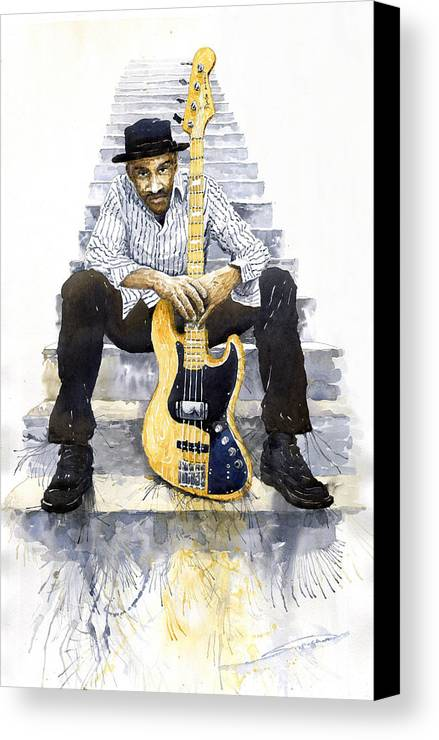 Jazz Canvas Print featuring the painting Jazz Marcus Miller 4 by Yuriy Shevchuk