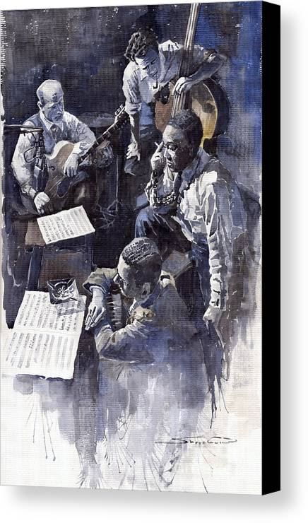 Jazz Canvas Print featuring the painting Jazz Parker Tristano Bauer Safransky Rca Studio Ny 1949 by Yuriy Shevchuk