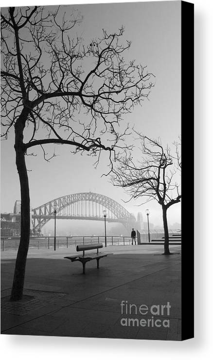 Sydney Harbour Bridge Mist Australia Canvas Print featuring the photograph Misty Sydney Morning by Sheila Smart Fine Art Photography