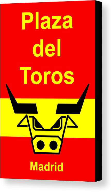 Canvas Print featuring the digital art Plaza Del Toros by Asbjorn Lonvig