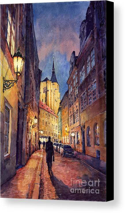 Architecture Canvas Print featuring the painting Prague Husova Street by Yuriy Shevchuk