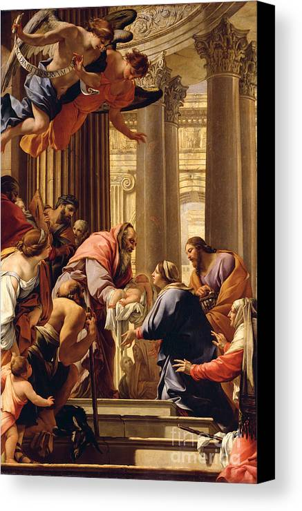 Presentation In The Temple (oil On Canvas) Jesus Christ; Mary; Joseph; Infant; Baby; Angels Canvas Print featuring the painting Presentation In The Temple by Simon Vouet