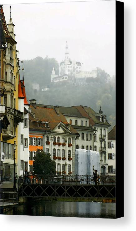 Lucerne Canvas Print featuring the photograph Rainy Day In Lucerne by Linda Parker