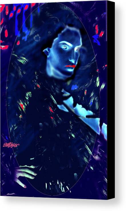 A Bizarre Evil Witch Flies With The Ravens Canvas Print featuring the digital art Raven Woman by Seth Weaver