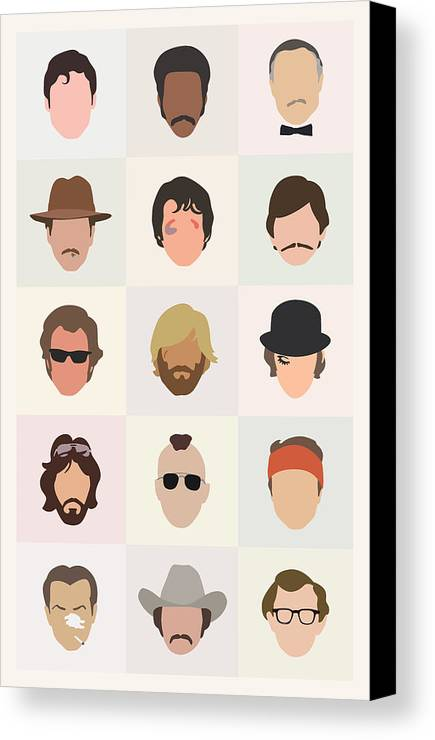 1970s Canvas Print featuring the digital art Seventies Movie Dudes by Mitch Frey