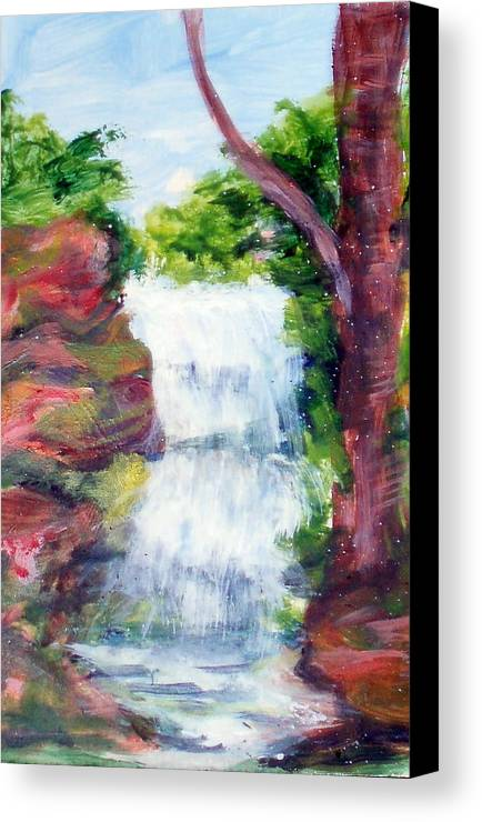 Falling Water Canvas Print featuring the painting Singing Water by Lia Marsman