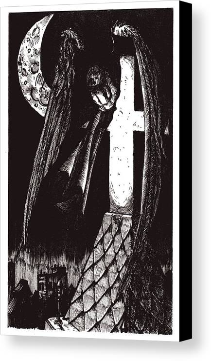 Angel Canvas Print featuring the drawing Solemn Vigil by Tobey Anderson