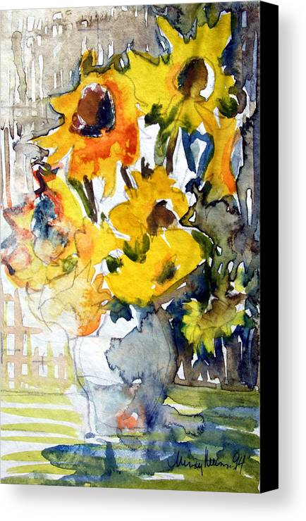 Sunflowers Canvas Print featuring the painting Sunflowers by Mindy Newman