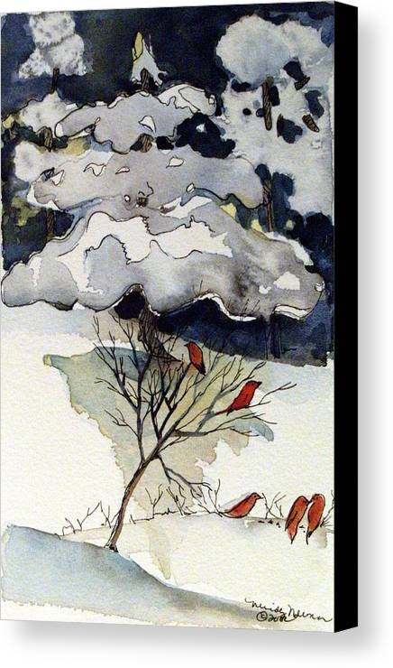 Winter Canvas Print featuring the drawing The Friendly Pine Tree Watches by Mindy Newman