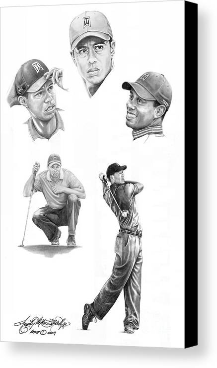 (tiger Woods) Canvas Print featuring the drawing Tiger Woods- Full Circle by Murphy Elliott